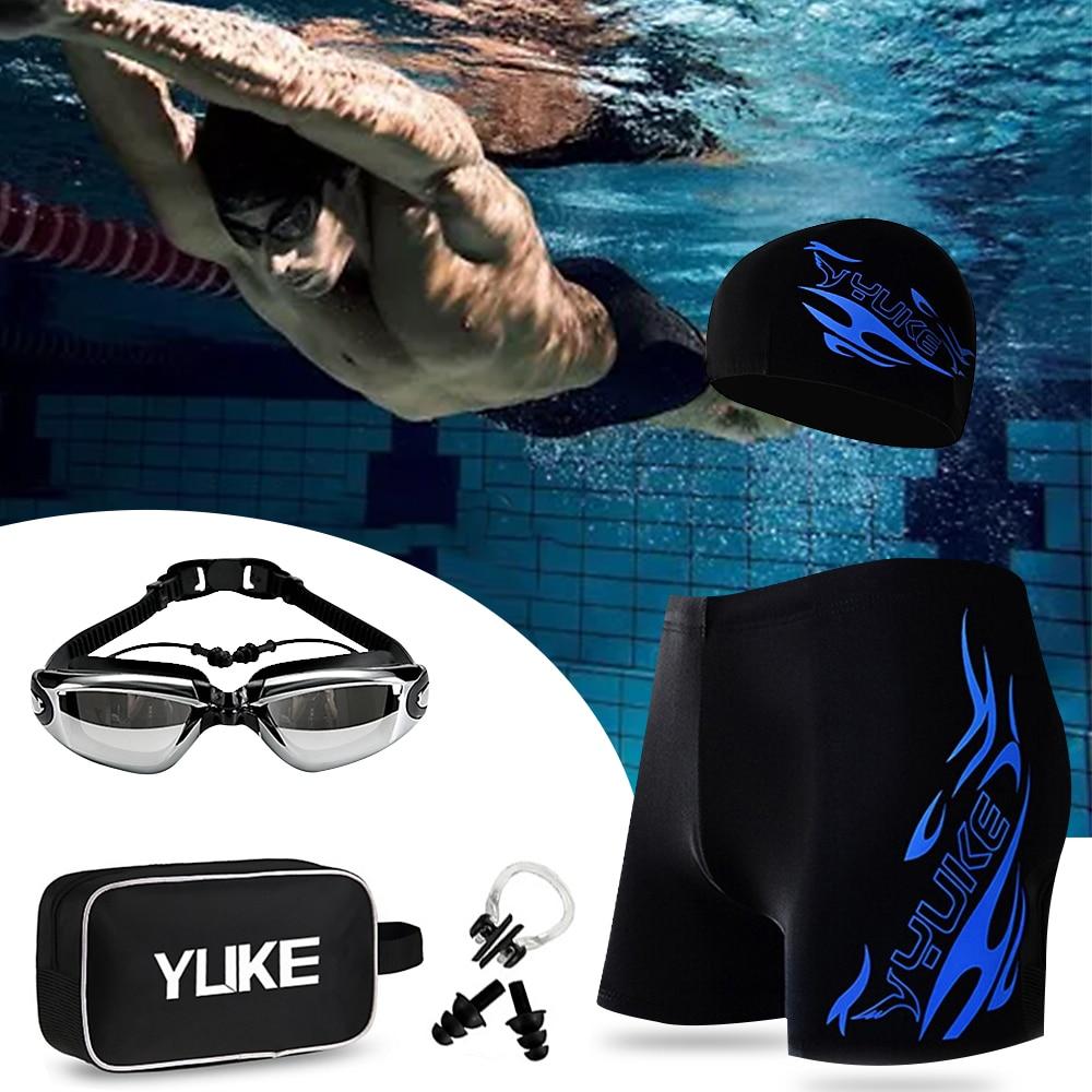 New Men Print Swimming Equipment Set Swimming Trunks Goggles Hat Earplug  Professional Swimwear Bathing Suits Accessories|Men's Trunks| - AliExpress