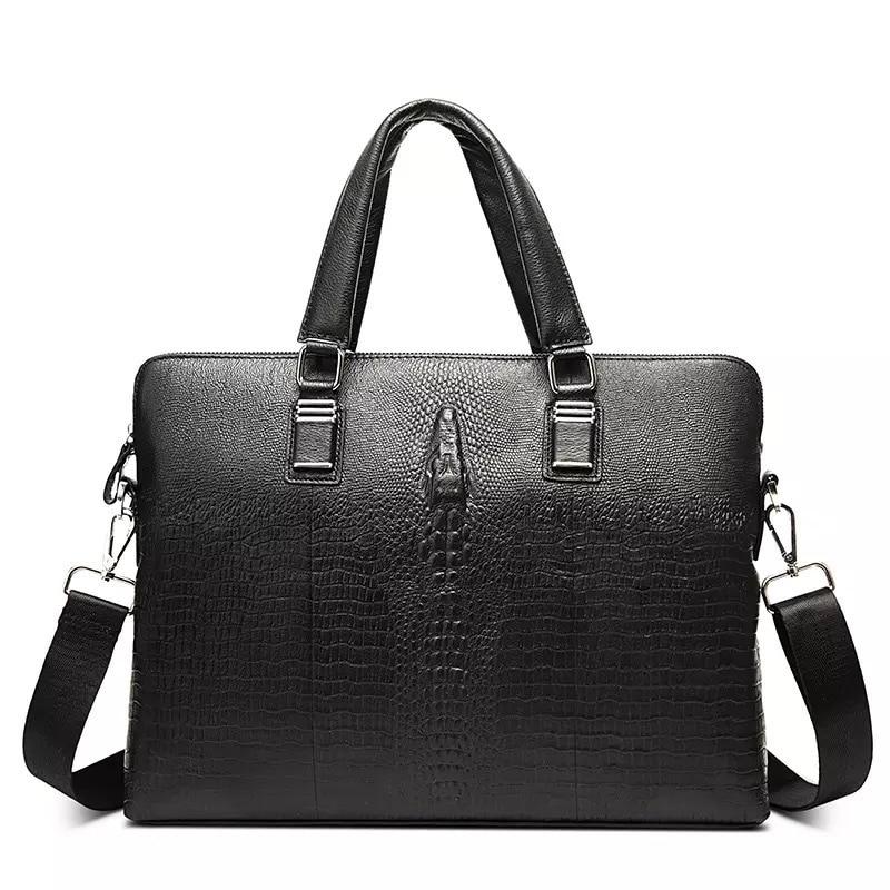 100% Cow Genuine Leather Business Men's Briefcase Male Shoulder Bag Real Leather Men Messenger Bag Alligator Tote Computer Bag