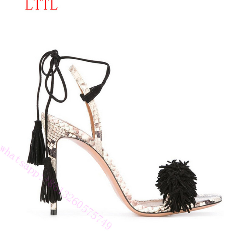 ФОТО Sexy Classic Black Cut-outs Tassels Women Pumps Fashion Summer Cool Sandals Boots Sequins high-heeled shoes for sexy   girl