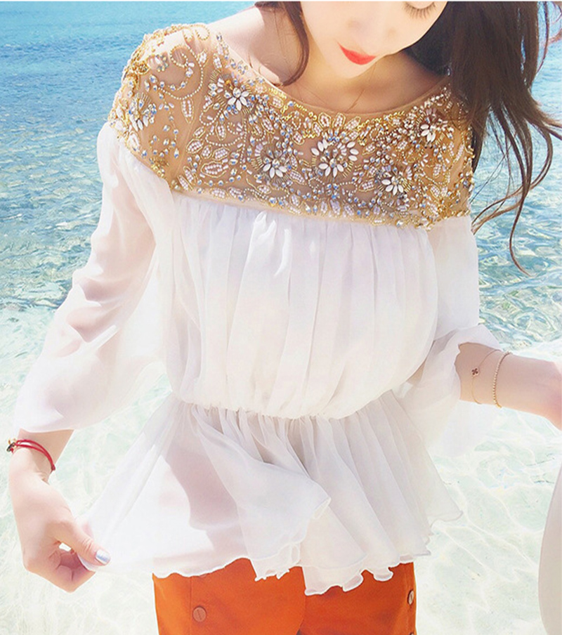 MS. ONLY Brand 2016 Luxury Handmade Heavry Diamonds Lace Pattern Chiffon Off Shoulder Blouses White Long Puff Sleeve Slim Shirt