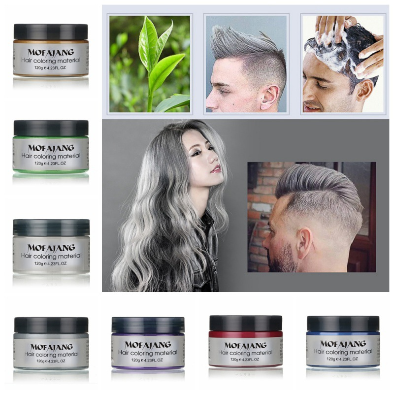 MOFAJANG 120g Hair Coloring Wax Silver Ash Grey Strong Hold Temporary Dye Gel Mud Easy Wash Color Styling Promades