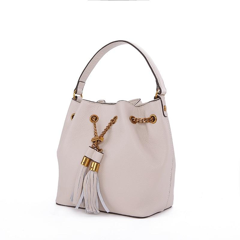 Newest Fashion Style Women Bucket Bag Famous Brand Design Leather Shoulder Bag Tassel Chain Crossbody Bag for Lady Girls недорого