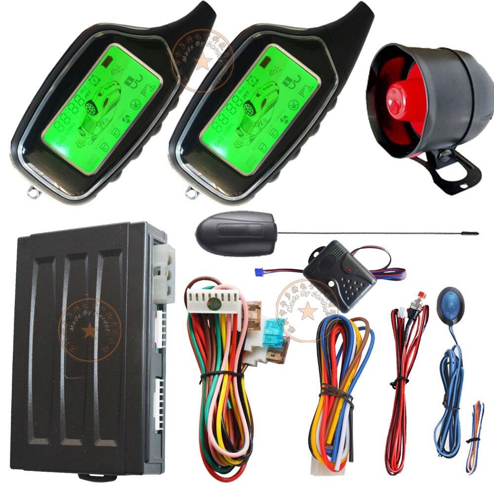 Système d'alarme de sécurité automatique système d'alarme de voiture à distance automatique à 2 voies avec alarme lcd télécommandes clé de puce de contrôle de sortie de dérivation