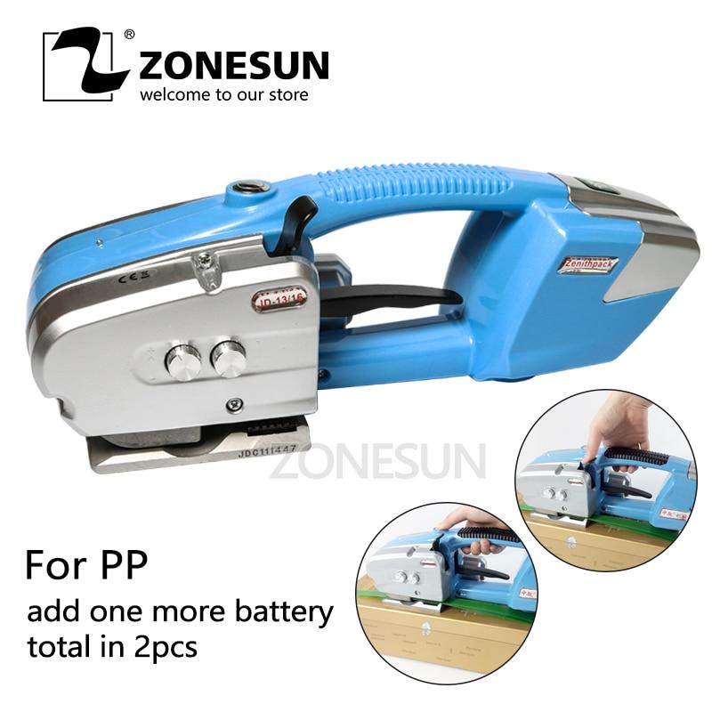 ZONESUN обвязочная машина для PP & PET ремень на батарейках автоматический Натяжной ручной инструмент ОБВЯЗОЧНЫЙ натяжитель комбинированный упл