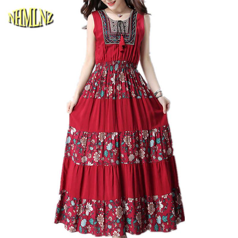 2019 новое летнее платье женские новые винтажная, этнический стиль элегантные модные платье с принтом без рукавов с круглым вырезом Платье Женское Vestidos DAN042