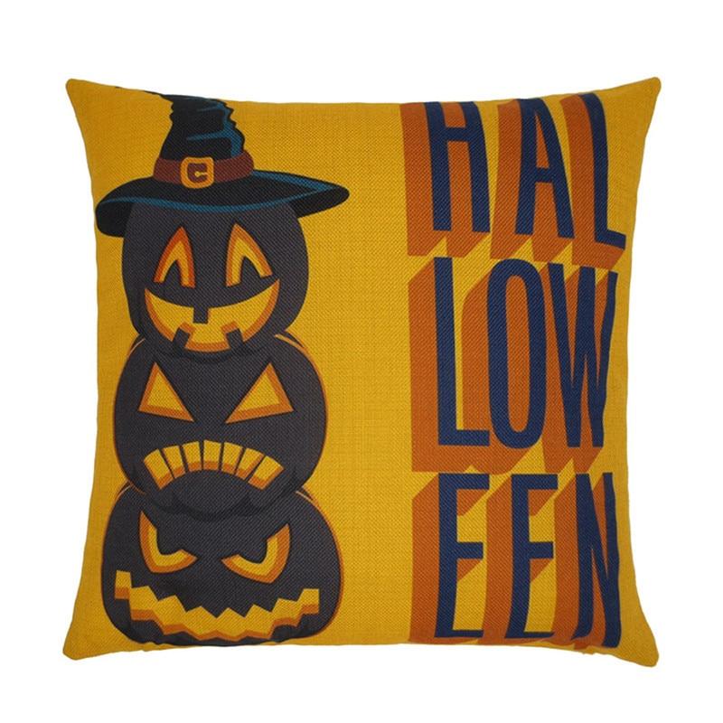 Fashion Halloween Sofa Cushion Cover Pillowcase For Car Linen Cotton Pillow Covers Quality Cussion Pumpkin Printing 45x45cm Hot