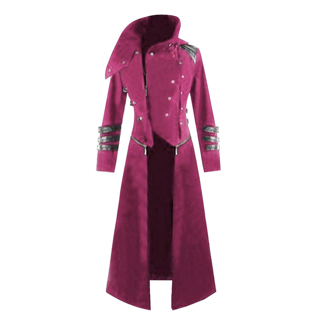 Autumn 2019 Hot Sale Fashion Mens Gothic  Hooded Trench Party Costume Tailcoat Long Sleeve Jacket Hot Pink  Fashion Jacket