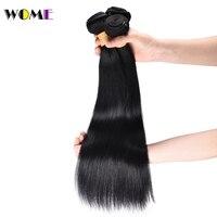 Wome Pre Colored Brazilian Straight Hair Bundles 1# Jet Black Human Hair Weave 3 Bundles Non Remy Jet Black Human Hair Bundles