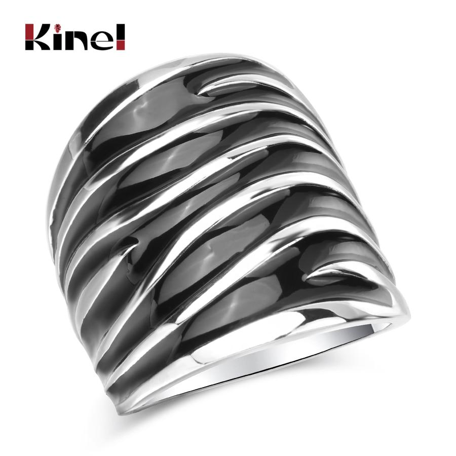 Kinel Unique Punk Rock Black Enamel Big Ring Fashion Wave Pattern Silver Color Women Jewelry
