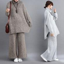 PLUS ขนาดผู้หญิง 2 ชิ้นชุดกางเกง 2019 ใหม่ถักเสื้อกันหนาว Pullovers และกว้างขาอุ่นกางเกงเลดี้กางเกงชุด