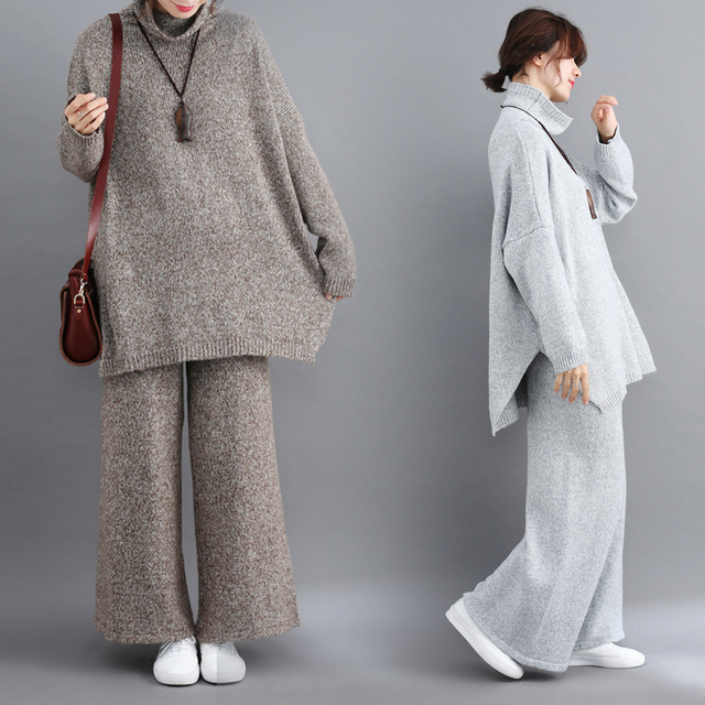 Plus Size Women 2 Pieces Pant Sets 2019 New Turtleneck Knitted Sweaters Pullovers and Wide Leg Warm Pant Lady Pant Suits