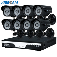 8ch Full HD 4mp CCTV kit DVR h.264 Video Recorder AHD Outdoor Black Bullet Security Camera System Kit Surveillance Email alert