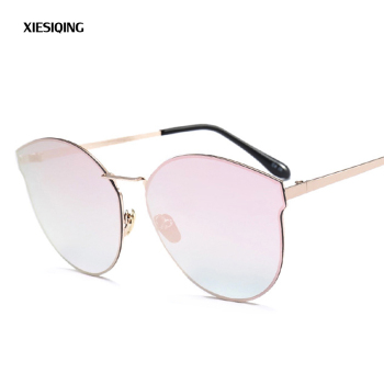 2018 new fashion women color luxury flat top cat eye sunglasses metal frame multicolor gradient ladies fashion sunglasses UV400