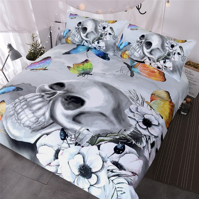Blessliving Gothic Bedding Set Fl Duvet Cover Black And White Skull Bedclothes Colorful Erflies Bed Queen 3pcs