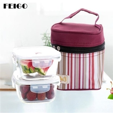 FEIGO 2Pcs/Set Resistance Glass Lunch Boxes+Lnsulation Bag Rectangle Square Microwave Oven Refrigerator Dedicated Bento Box F639