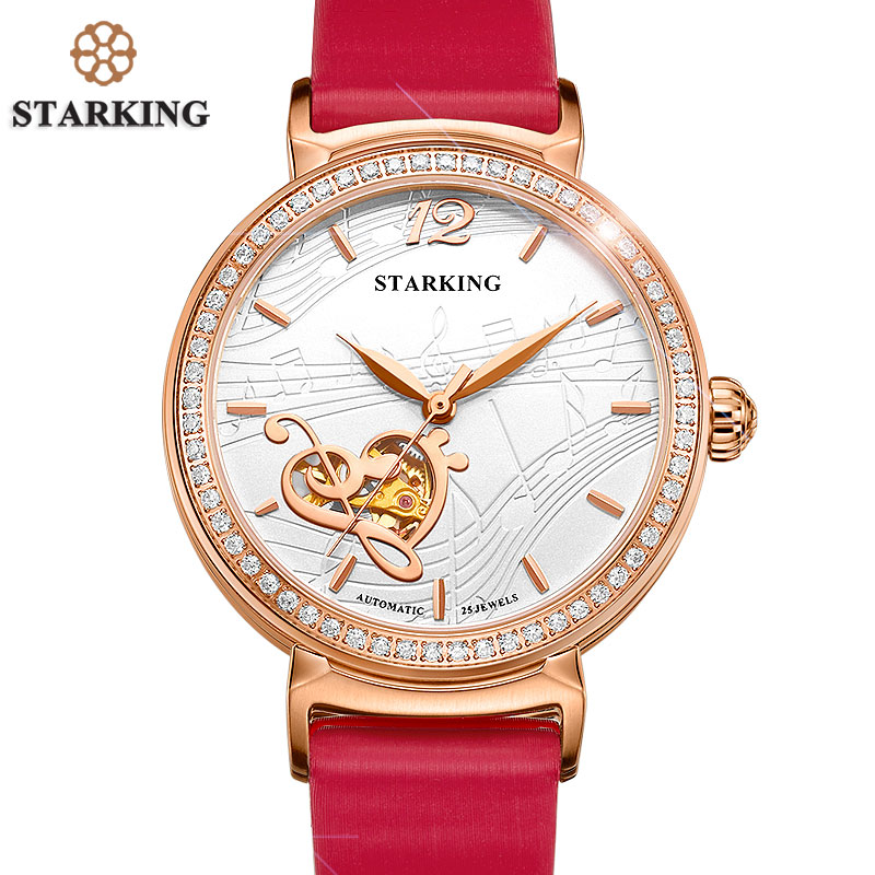 STARKING Hot Selling Automatic Mechanical Watch Women Rose Gold 2017 Luxury Crystal Diamond Watches Hollow Lady Wristwatches hot selling oversize 1000% bearbrick luxury lady ch be rbrick medicom toy 52cm zy503