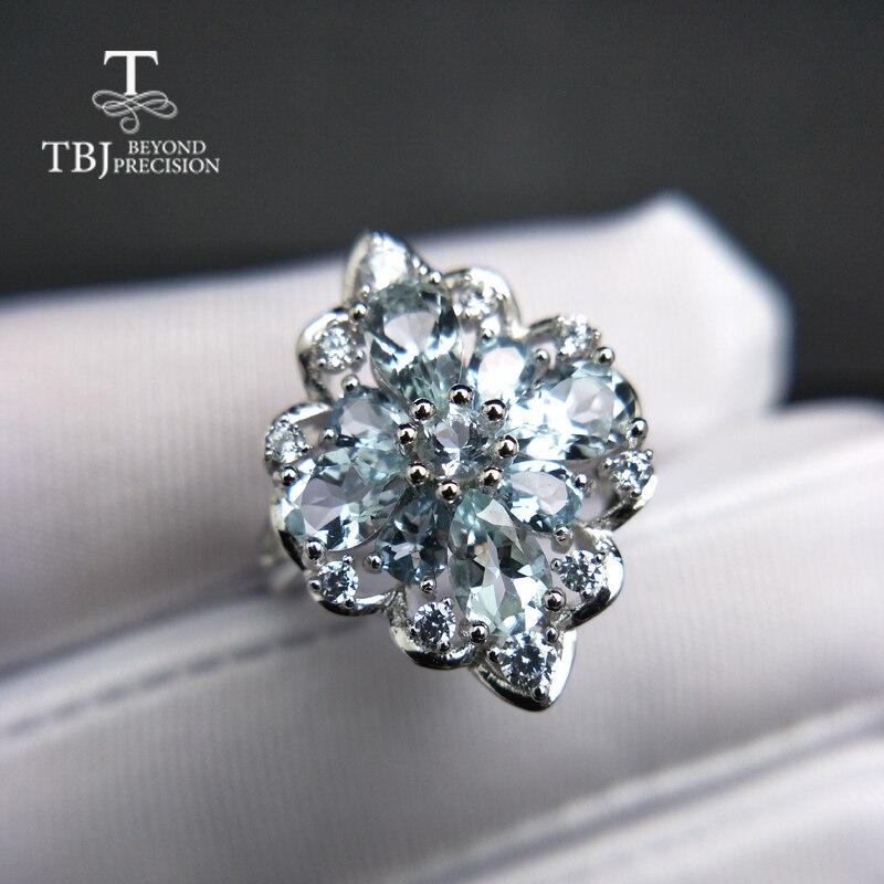 TBJ, 100%ธรรมชาติ3ctบราซิลa quamarineแหวนพลอยใน925เงินสเตอร์ลิงเครื่องประดับเพชรพลอยสำหรับสุภาพสตรีกับของขวัญกล่อง-ใน ห่วง จาก อัญมณีและเครื่องประดับ บน   2