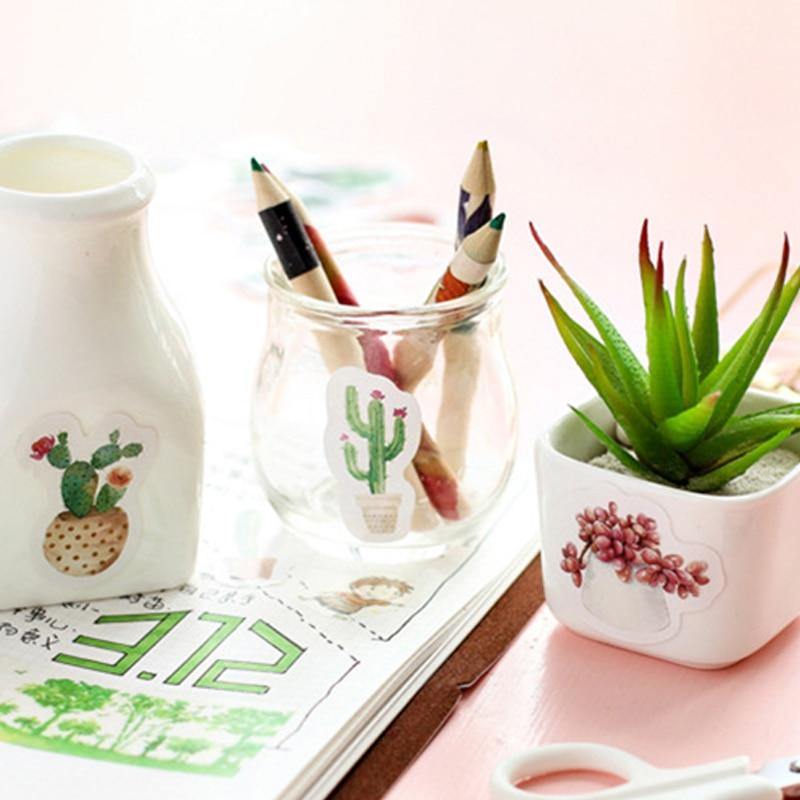 45 unids / lote Cactus mini etiqueta engomada de papel decoración - Blocs de notas y cuadernos - foto 4