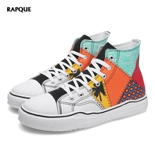High top sneakers men vulcanize shoes casual board walking canvas shoes man male footwear mens scrawl print colorful trainers