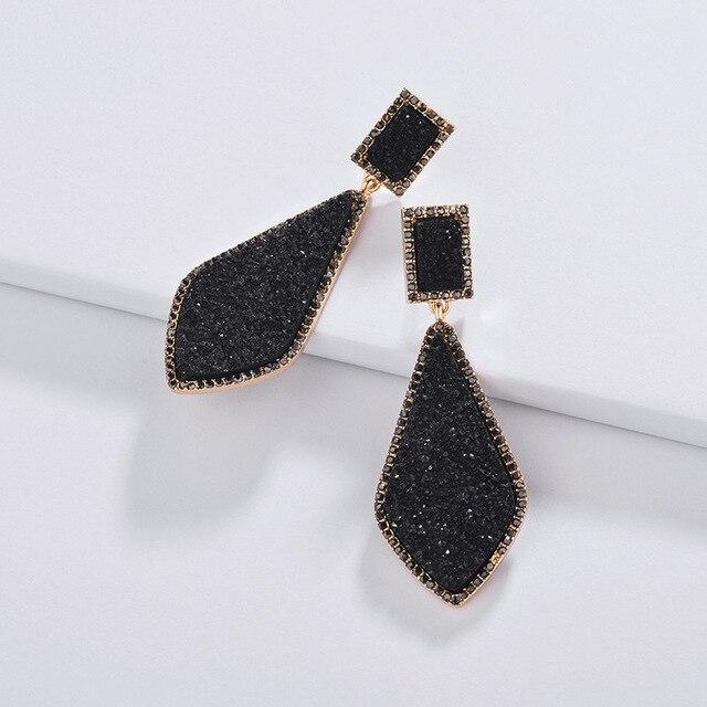 b9d7856040 US $5.75 28% OFF|ZWPON 2019 New Geometrix Rhinestone Resin Teardrop Druzy  Earrings for Women Fashion Jewelry Wholesale-in Drop Earrings from Jewelry  & ...