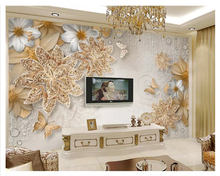 beibehang Luxury 3d three-dimensional golden jewelry flower butterfly TV bedroom classic background papel de parede wallpaper