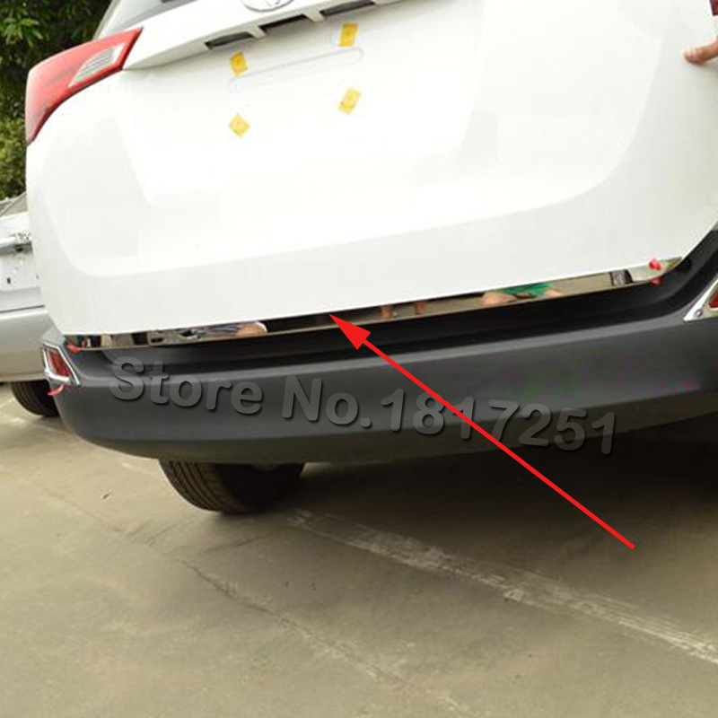 For Toyota RAV4 2013 2014 2015 2016 Tailgate Rear Door Bottom Cover Molding Trim Stainless Steel Back Door Trim Car Accessories