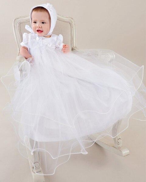 цена  2016 Tiered Tulle White/Ivory First Communion Dresses Blessing Heirloom Christening Gown with Bonnet Baby Girls Baptism Robe  онлайн в 2017 году