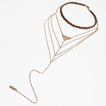 Brown Braided Leather Choker Alloy Gold Multilayer Necklace Natural Stone Pendant Charm Collar Necklace Long Tassel MYC02024