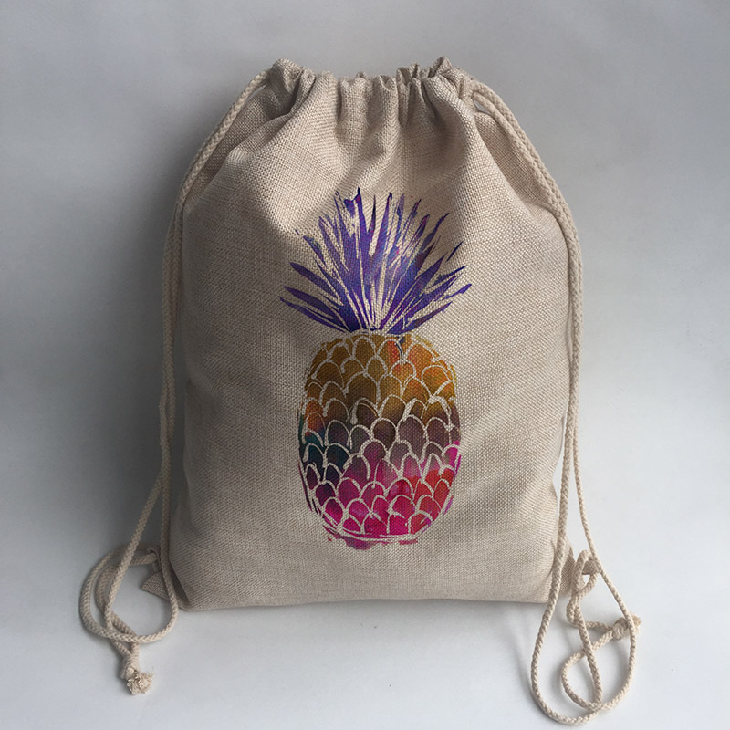pineapple Print Custom Vintage Outdoor Beach Gym Swimming Clothing Shoes Storage Bag Drawstring Backpack