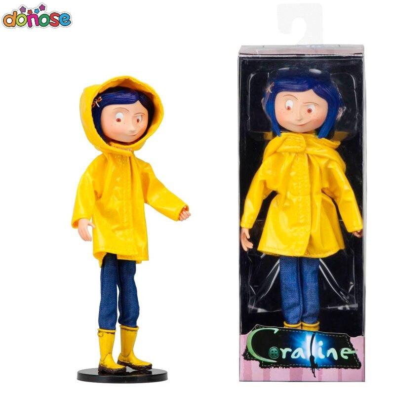 Coraline 17cm Coraline & a Porta Secreta y la puerta secreta raincoat Action figure boneca brinquedos de presente de Natal
