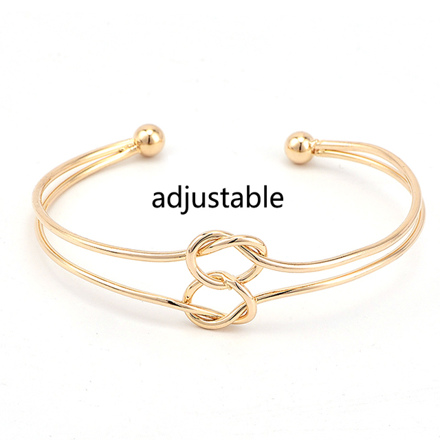 3 Pcs/set  Double Knot Loop Metal Chain Bracelets