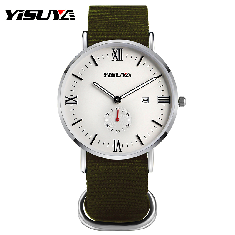 YISUYA Watches Men Brand Wristwatches Day Date Fashion Sport Man's Quartz Watch Army Green Nylon Band Relogio Masculino 2017 2016 brand new date day men model design fashion trends quality rubber band japan quartz black watch relogio masculino