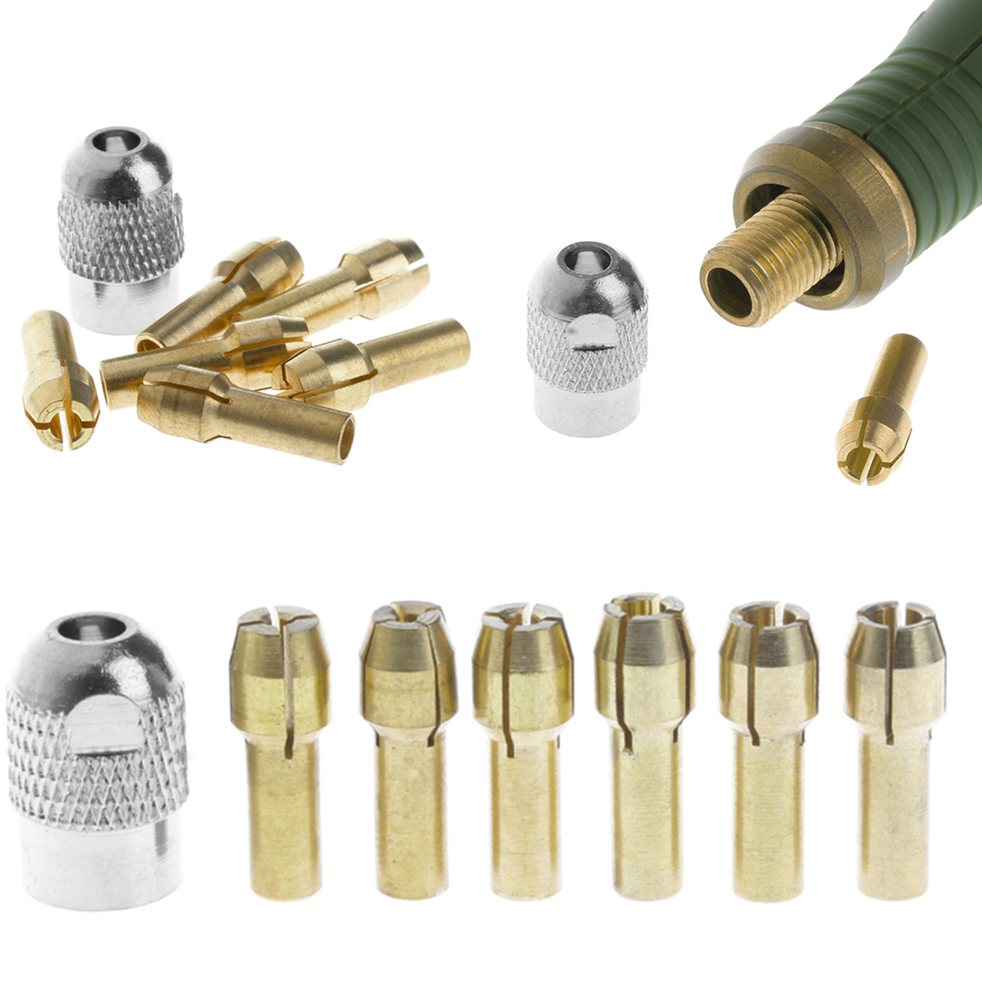 Hot 6pcs Brass Drill Collet Chucks With 1pc M8x0.75mm Black Nut Accessories For Dremel Rotary Tool 1mm,1.6mm,2mm,2.4mm,3.2mm,3mm