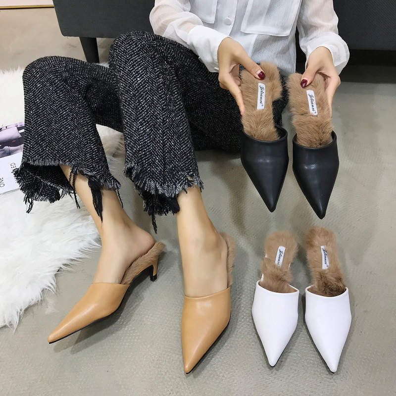 137c2a495ef6 Detail Feedback Questions about 2019 New brand pointy toe leather mules  slippers women winter rabbit fur outdoor trend slides shoes ladies cat heels  ...