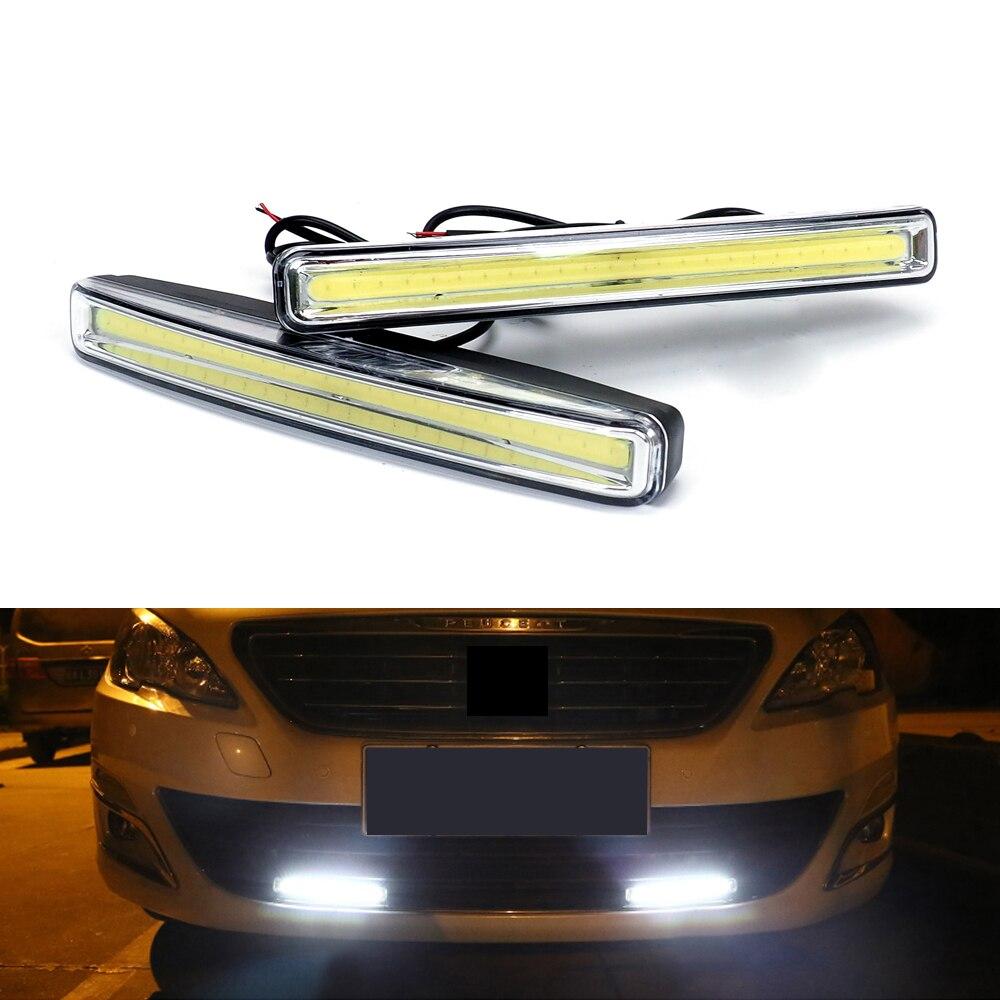 2Pcs Car Daytime Running Lights Car-styling DRL Car Daytime Lamp Auto Fog Light Super Bright Waterproof DC 12V For peugeot 307