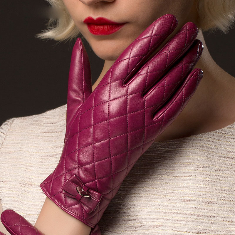 Woman's Gloves Autumn Winter Warm Lined Real Leather Gloves Female Fashion Diamond Lattice Sheepskin Driving Gloves NW691-1