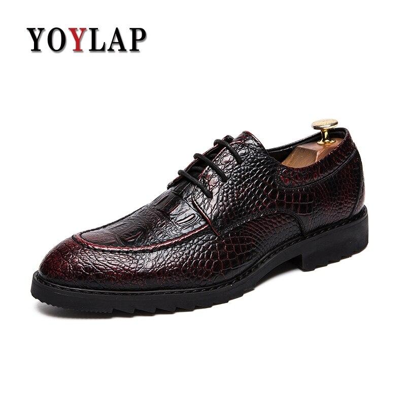 Vestem Se Para Dos Couro De Marca 2 Crocodilo Yoylap Homens Luxo 2018 Rendas Sapatos Da Brogue Até red 1 Black Oxford black 2 CvazwPq