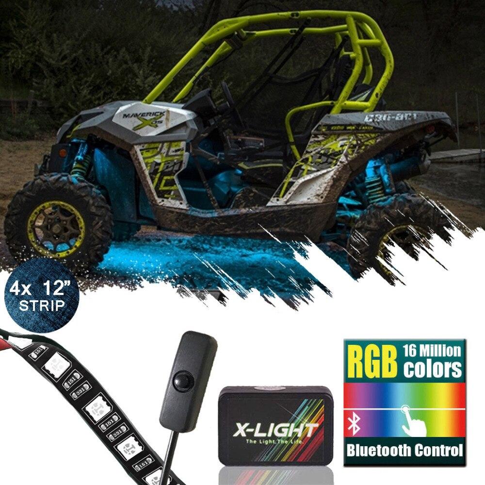 US $44 99 |X LIGHT ATV UTV LED Lighting Kit Body Underbody Light Neon 4  Strips 18 Color Bluetooth Tech w/Switch | Music Active | 3 in 1 LED-in