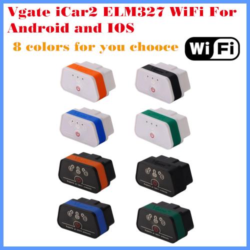 [5 pçs/lote] 100% 8 cores Originais leitor de Código de Vgate iCar2 iCar 2 elm327 wifi com interruptor trabalho com iphone e android obd-ii OBD
