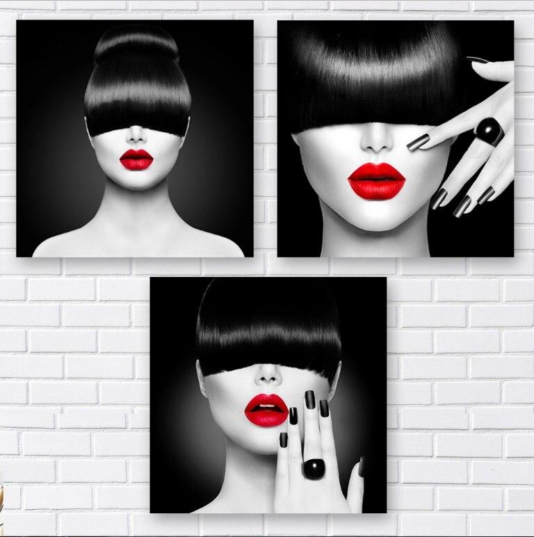 3 Pièces Noir et Blanc Mode de Coiffeur Femme Parure Peintures Wall Art Toile Photo pour Salon Non Encadrée