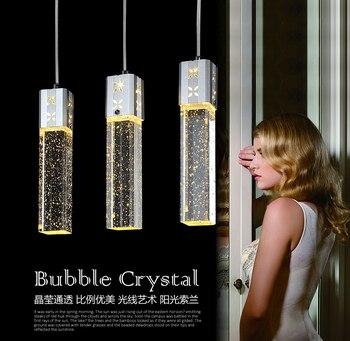 éclairage De Lustre Contemporain | Nouveau Moderne 3 Têtes LED Lumières Bulle Cristal Colonne Pendentif Lampe Lumière éclairage Lustres FG798