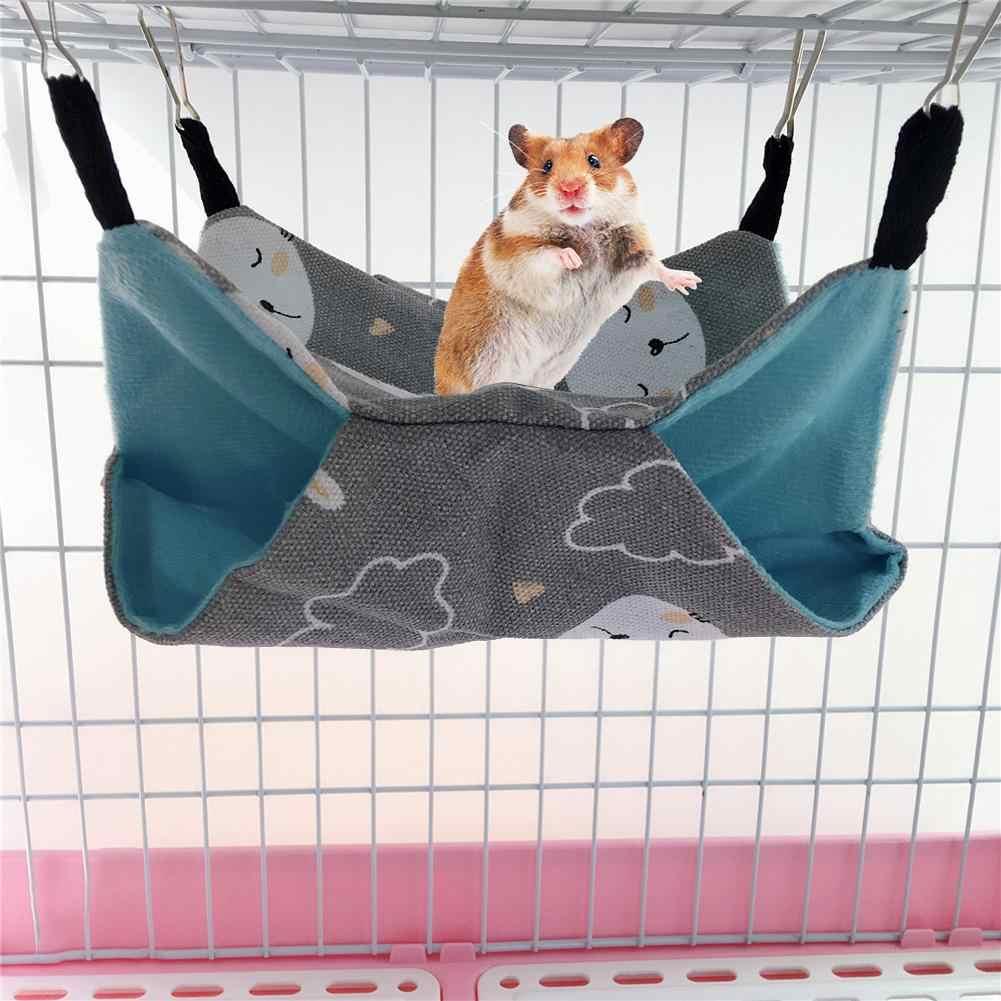 Гамаки для животных Висячие кровати гнездо хомяки Chinchillas Ferrets гамак двухслойный холст гамак маленькое домашнее животное тканевое гнездо клетка доступа