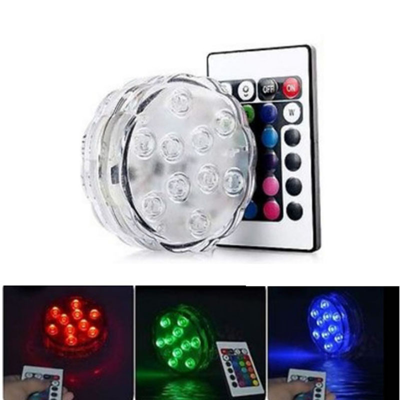 1 X Remote Control Submersible 10LEDs RGB Waterproof Light Christmas Light For Home Vase Wedding Party Fish Tank Outdoor Decors