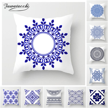 Fuwatacchi Mandala Floral Cushion Cover Japanese-style Blue Sea Cotton Geometric Sailing Printed Pillows Cove
