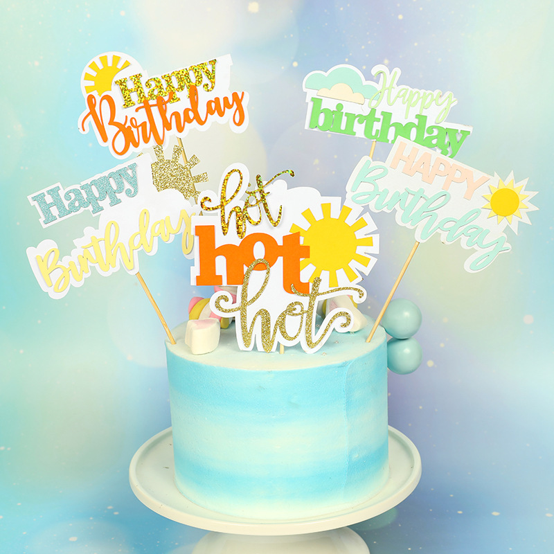 Happy Birthday Sunshine Cupcake Toppers Summer Party Supplies Summer Ice Cream Solar Cloud Theme Glitter Charming Cake Topper in Cake Decorating Supplies from Home Garden