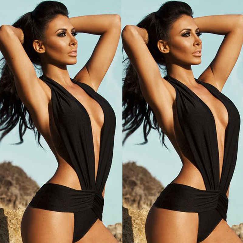 26399b39cebf 2016 nueva moda mujer negro ajustado Sexy Cruz Patchwork Push up Bikini Set  traje de baño Retro una pieza bañador playa traje