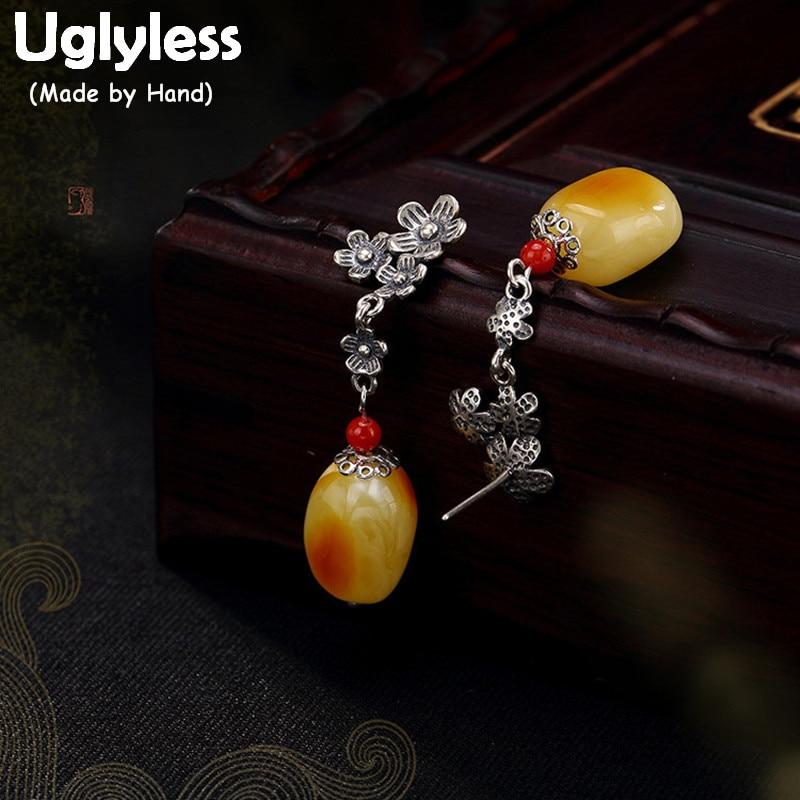 Boucles d'oreilles en argent Sterling Uglyless Real S 925 en cire d'abeille naturelle pour femmes ambre Brincos fleurs ethniques Bijoux Bijoux exotiques