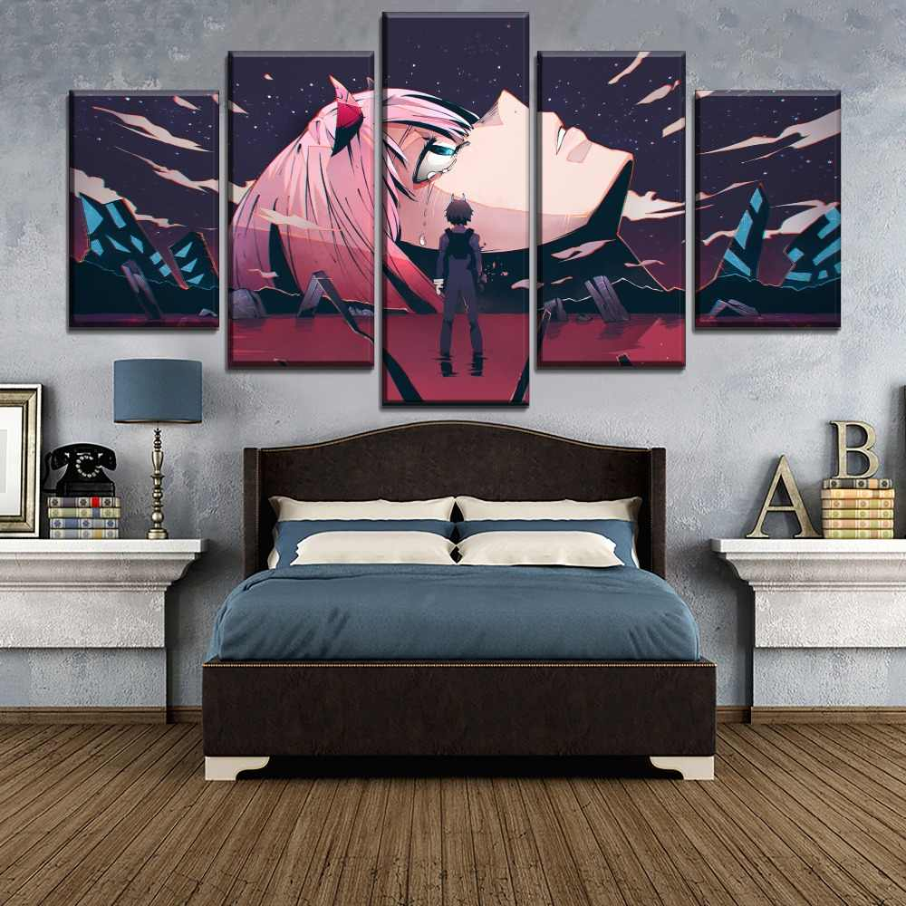 5 Piece Large Poster Home Decor Wall Anime Darling in the FranXX Painting Canvas Print Hiro Zero Two HD Picture Modern Artwork