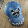 2017 lgfd sombrero de vaquero de moda, diamante crytal y jean rhinestone gorra de béisbol del snapback sombreros