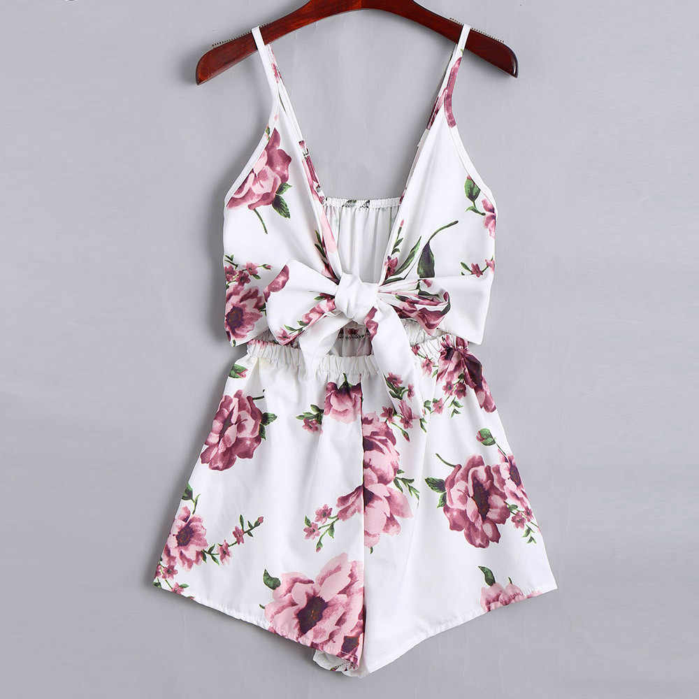 Sweet Elegant Playsuit Women Lace Up Bow Floral Print Summer Beach Boho Sleeveless Sling Loose Short Jumpsuit Buzos Mujer